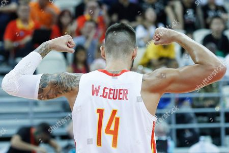 Willy Hernangomez Geuer of Spain reacts during the FIBA Basketball World Cup 2019 quarter final? match between Spain and Poland in Shanghai, China, 10 September 2019.