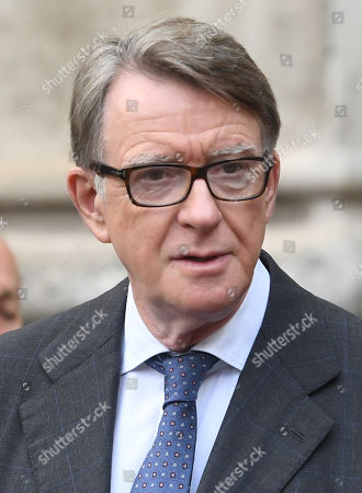Stock Image of British Labour politcian, Lord Peter Mandelson attends a Service of Thanksgiving for the life and work of Lord Ashdown in Westminster Abbey London, Britain, 10 September 2019. Paddy Ashdown was a former leader of the Liberal Democrats.
