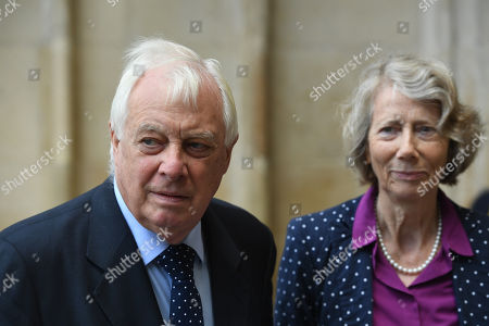 Stock Picture of British Conservative politician Lord Chris Patten, final Governor of Hong Kong, and wife Lavender Patten attends a Service of Thanksgiving for the life and work of Lord Ashdown in Westminster Abbey London, Britain, 10 September 2019. Paddy Ashdown was a former leader of the Liberal Democrats.