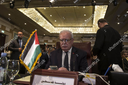 Palestinian Foreign Minster Riyad al-Maliki attends the Arab Foreign Ministers ordinary meeting in Cairo, Egypt, 10 September 2019. Arab Foreign Ministers are gathering for the 152nd Arab League Council ministerial meeting that is due to discuss issues including the situation in the Palestinian territories, Yemen and Syria.