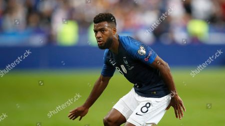 France's Thomas Lemar eyes the ball during the Euro 2020 group H qualifying soccer match between France and Albania at the Stade de France in Saint Denis, north of Paris, France
