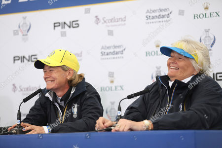 Team Europe Solheim cup captain Catriona Matthew, left, and vice captain Laura Davies speak to the media during a press conference at Gleneagles, Auchterarder, Scotland, . The Solheim cup runs from 13-15 Sept