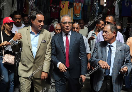 The presidential candidate of 'Machrouu Tounes' party Mohsen Marzouk (C) visits the old city of Tunis, Tunisia, 10 September 2019. The election campaign will run from 02 to 13 September. The first round of the presidential election in Tunisia will be held on 15 September.