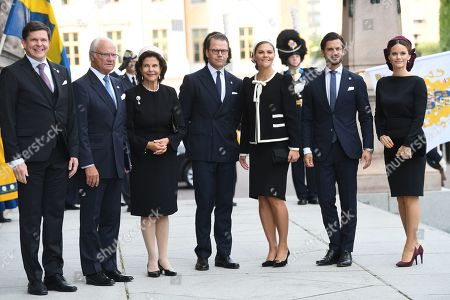 Anderas Norlin, Speaker of the Parliament, King Carl Gustaf, Queen Silvia, Prince Daniel,, Crown Princess Victoria, Prince Carl Philip and Princess Sofia of Sweden