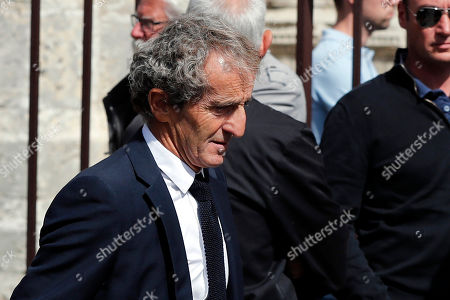 French former driver Alain Prost arrives for the funeral ceremony of late French driver Anthoine Hubert, at the Chartres cathedral, in Chartres, south of Paris, . The French driver died at the Spa-Francorchamps track following a 160 mph (257 kph) crash in the F2 Belgian Grand Prix
