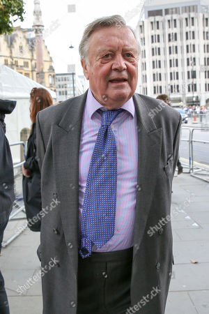 Stock Image of Kenneth Clarke departs from Westminster Abbey in London after attending a memorial service for Lord Paddy Ashdown. Lord Ashdown became the leader of the newly formed Liberal Democrats created by the merger of the Liberal Party and the Social Democratic Party in 1988, a position he held for 11 years before standing down in 1999.