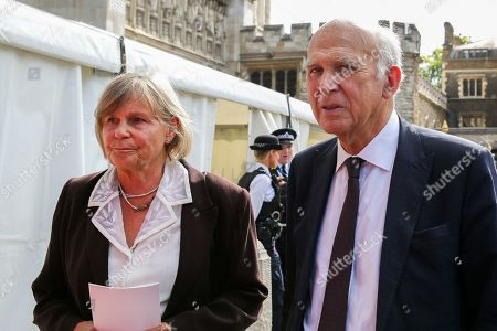 Sir Vince Cable (R) with his wife Rachel Smith departs from Westminster Abbey in London after attending  a memorial service for Lord Paddy Ashdown. Lord Ashdown became the leader of the newly formed Liberal Democrats created by the merger of the Liberal Party and the Social Democratic Party in 1988, a position he held for 11 years before standing down in 1999.