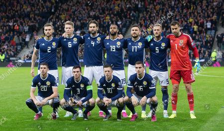 Scotland Team  Back Row L-R Stephen O'Donnell, Scott McTominay, Charlie Mulgrew, Matt Phillips, Robert Snodgrass, Liam Cooper, David Marshall.  Front Row L-R Ryan Christie, Andy Robertson, Callum McGregor, Kenny McLean.