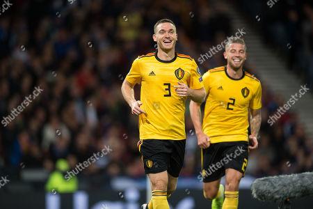 Thomas Vermaelen celebrates after scoring the second goal for Belgium 0-2