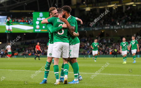 Republic of Ireland vs Bulgaria. Ireland's Alan Browne celebrates scoring his sides first goal with Ronan Curtis and Cyrus Christie