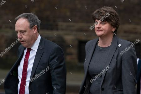 Northern Ireland Democratic Unionist Party (DUP) leader, Arlene Foster (R) and and Nigel Dodds (L) arrive in Downing Street, Central London, Britain, 10 September 2019. British Prime Minister Boris Johnson lost a vote the previous night in the House of Commons in an attempt to call a general election for October.