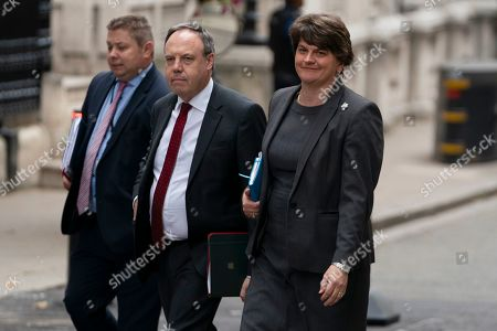 Northern Ireland Democratic Unionist Party (DUP) leader, Arlene Foster (R) and and Nigel Dodds (C) arrive in Downing Street, central London, Britain, 10 September 2019. British Prime Minister Boris Johnson lost a vote the previous night in the House of Commons in an attempt to call a general election for October.