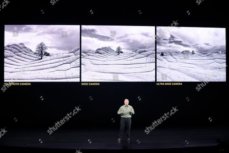 Phil Schiller, Senior Vice President of Worldwide Marketing, talks about the new iPhone 11 Pro and Max, during an event to announce new products, in Cupertino, Calif