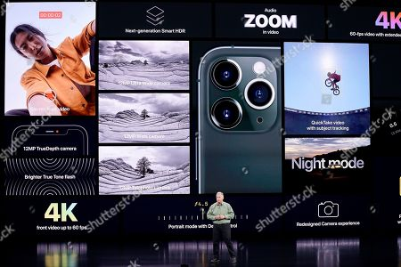 Stock Picture of Phil Schiller, Senior Vice President of Worldwide Marketing, talks about the new iPhone 11 Pro and Max, during an event to announce new products, in Cupertino, Calif