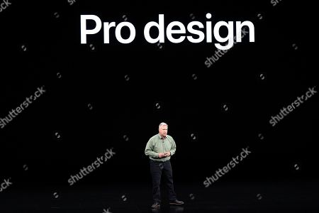 Stock Image of Phil Schiller, Senior Vice President of Worldwide Marketing, talks about the new iPhone 11 Pro and Max, during an event to announce new products, in Cupertino, Calif