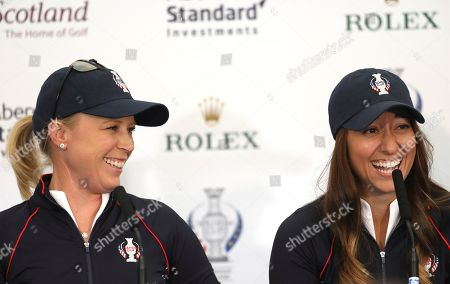 US Solheim cup players Morgan Pressel, left, Marina Alex during a press conference at Gleneagles, Auchterarder, Scotland, . The Solheim cup runs from 13-15 Sept