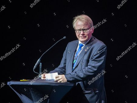 Sweden's Defence Minister Peter Hultqvist gives a speech during a ceremony where the first Saab Gripen E fighter was handed over to Brazil, in Linkoping, Sweden, 10 September 2019. Brazil has ordered 28 Gripen E and eight Gripen F fighters from Swedish aerospace and defence company Saab.