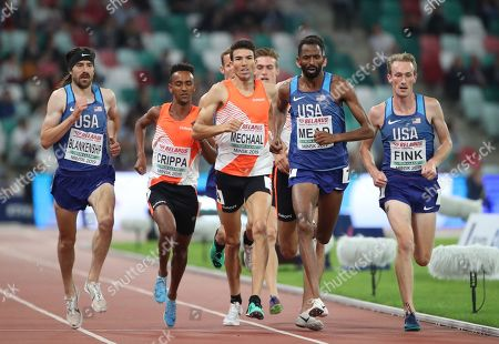Adel Mechaal (3L) of Spain, Ben Blankenship (L) of USA, Yemaneberhan Crippa (2L) of Italy, Hassan Mead (2R) of USA and Willy Fink (R) of USA compete in the men's 3000m race at the Match Europe v USA athletics meeting, in Minsk, Belarus, 10 September 2019.