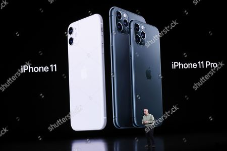 Stock Photo of Apple Senior VP of Worldwide Marketing Phil Schiller speaks about the iPhone 11 Pro during the Apple Special Event in the Steve Jobs Theater at Apple Park in Cupertino, California, USA, 10 September 2019.