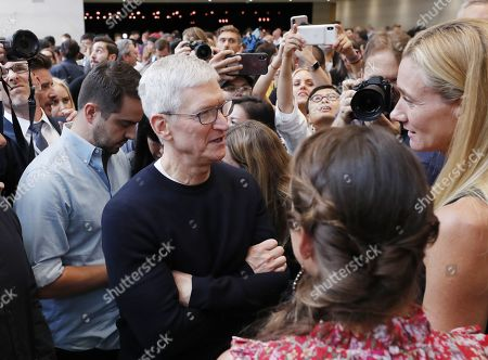 Apple CEO Tim Cook during the hands-on portion of the Apple Special Event in the Steve Jobs Theater at Apple Park in Cupertino, California, USA, 10 September 2019.