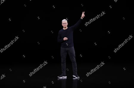 Apple CEO Tim Cook reacts at the end of the Apple Special Event in the Steve Jobs Theater at Apple Park in Cupertino, California, USA, 10 September 2019.