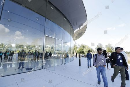 Members of the media depart after the Apple Special Event in the Steve Jobs Theater at Apple Park in Cupertino, California, USA, 10 September 2019.