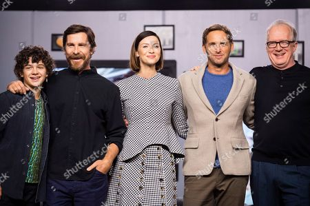 "Noah Jupe, Christian Bale, Caitriona Balfe, Josh Lucas, Tracy Letts. From left, actors Noah Jupe, Christian Bale, Caitriona Balfe, Josh Lucas and Tracy Letts attend a press conference for ""Ford v Ferrari"" on day six of the Toronto International Film Festival at the TIFF Bell Lightbox, in Toronto"
