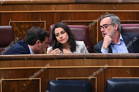 Leader of Spanish party Ciudadanos Albert Rivera (L) chats with the party's spokesperson Ines Arrimadas (C) and the General Secretary Jose Manuel Villegas during the Congress' plenary session focused on a debate on euthanasia, in Madrid, Spain, 10 September 2019.