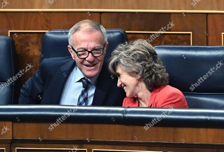Spanish acting Minister of Culture and Sport, Jose Guirao (L), chats with Spanish acting Minister of Health, Maria Luisa Carcedo, during the Congress' plenary session focused on a debate on euthanasia, in Madrid, Spain, 10 September 2019.