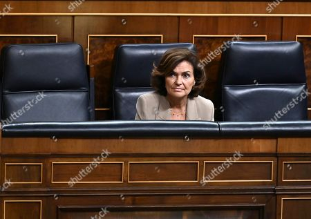 Spanish acting Vice president, Carmen Calvo, attends the Congress' plenary session focused on a debate on euthanasia, in Madrid, Spain, 10 September 2019.