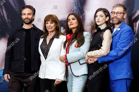 Mexican-born producer Salma Hayek (C) and actors/cast members Osvaldo Benavides (L), Rosa Maria Bianchi (2-L), Irene Azuela (2-R) and Juan Manuel Bernal (R) attend a press conference on the new Netflix series 'Monarca (Monarch)' in Mexico City, Mexico, 10 September 2019. The series will be released on the Netflix streaming platform on 13 September.