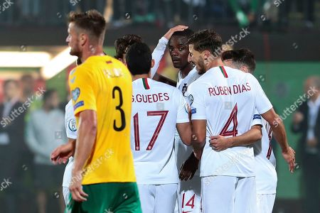 William de Carvalho (C) of Portugal celebrates the scoring of a goal during the UEFA EURO 2020 qualifier match between Lithuania and Portugal in Vilnius, Lithuania, 10 September 2019.