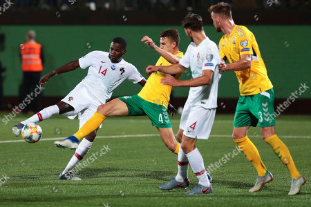 William de Carvalho (L) of Portugal scores a goal during the UEFA EURO 2020 qualifier match between Lithuania and Portugal in Vilnius, Lithuania, 10 September 2019.