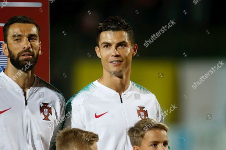 Portugal's Cristiano Ronaldo (R) and Rui Patricio during the UEFA EURO 2020 qualifier match between Lithuania and Portugal in Vilnius, Lithuania, 10 September 2019.