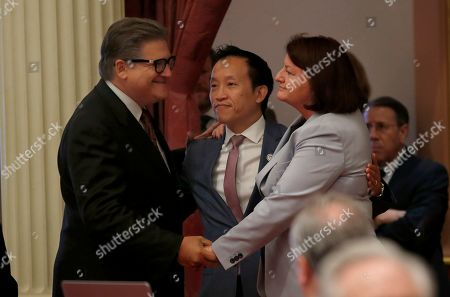 Robert Hertzberg, David Chiu, Toni Atkins. Assemblyman David Chiu, D-San Francisco, center, celebrates with state Sen. Robert Hertzberg, D-Van Nuys, left, and state Senate President Pro Tem Toni Atkins, of San Diego, after his measure that would cap rent increases was approved by the Senate in Sacramento, Calif., . The bill, AB1482 now goes to the Assembly. Atkins carried the measure in the Senate