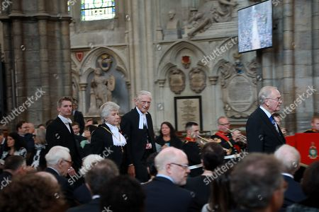 The Speaker of the House of Lords, Norman Fowler and Black Rod Lord process through the Nave