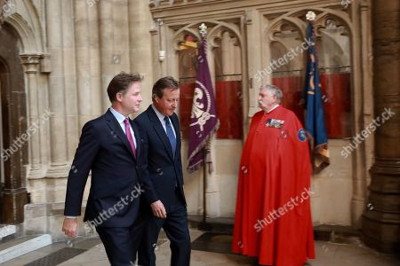 Former Prime Ministers, Nick Clegg and David Cameron enter the Abbey