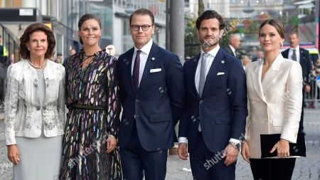 Queen Silvia with Crown Princess Victoria, Prince Daniel, Prince Carl Philip and Princess Sofia of Sweden