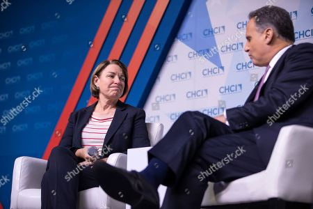 Democratic Senator from Minnesota and Democratic presidential candidate Amy Klobuchar participates in the Congressional Hispanic Caucus Institute's 2019 Leadership Conference Presidential Forum moderated by Jose Diaz Ballard (R) at the Ronald Reagan Building in Washington, DC, USA, 10 September 2019.