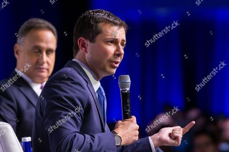 Mayor of South Bend, Indiana, and Democratic presidential candidate Pete Buttigieg participates in the Congressional Hispanic Caucus Institute's 2019 Leadership Conference Presidential Forum moderated by Jose Diaz Ballard at the Ronald Reagan Building in Washington, DC, USA, 10 September 2019.