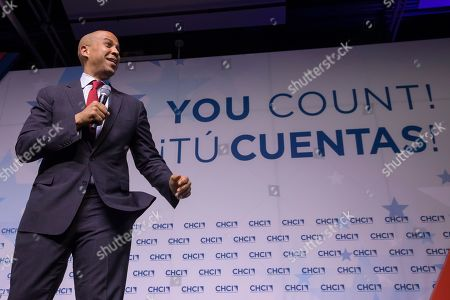 Stock Picture of Democratic Senator from New Jersey and Democratic presidential candidate Cory Booker participates in the Congressional Hispanic Caucus Institute's 2019 Leadership Conference Presidential Forum moderated by Jose Diaz Ballard at the Ronald Reagan Building in Washington, DC, USA, 10 September 2019.