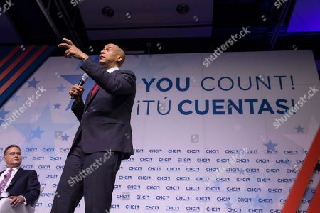 Democratic Senator from New Jersey and Democratic presidential candidate Cory Booker participates in the Congressional Hispanic Caucus Institute's 2019 Leadership Conference Presidential Forum moderated by Jose Diaz Ballard at the Ronald Reagan Building in Washington, DC, USA, 10 September 2019.