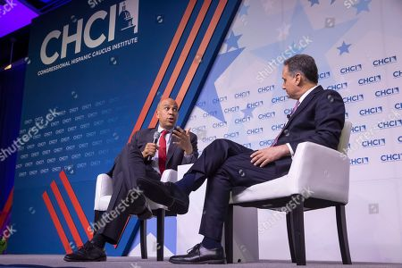 Democratic Senator from New Jersey and Democratic presidential candidate Cory Booker participates in the Congressional Hispanic Caucus Institute's 2019 Leadership Conference Presidential Forum moderated by Jose Diaz Ballard (R) at the Ronald Reagan Building in Washington, DC, USA, 10 September 2019.