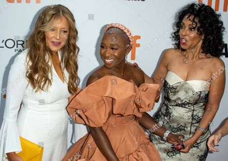 Daniela Taplin Lundberg, British actress and cast member Cynthia Erivo and US producer Debra Martin Chase arrive for the premiere of the movie 'Harriet' during the 44th annual Toronto International Film Festival (TIFF) in Toronto, Canada, 10 September 2019. The festival runs from 05 September to 15 September 2019.