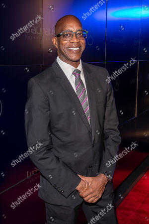Stock Picture of Edwin Moses attends the Laureus Fashion Show Gala featuring sports stars at Mercedes-Benz Manhattan, in New York