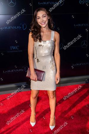 Meryl Davis attends the Laureus Fashion Show Gala featuring sports stars at Mercedes-Benz Manhattan, in New York