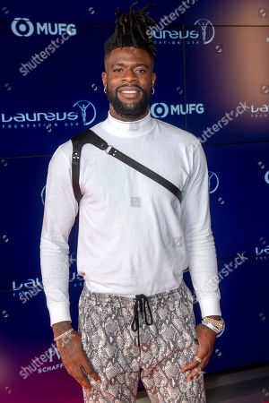 Reggie Bullock attends the Laureus Fashion Show Gala featuring sports stars at Mercedes-Benz Manhattan, in New York