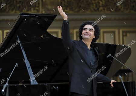 Mexican-born French tenor Rolando Villazon performs on stage during the George Enescu International Festival 2019 at the Grand Concert Hall in Bucharest, Romania, 10 September 2019. The festival, held every two years since 1958, is the biggest classical music festival held in Romania, and is named after Romanian composer and violinist George Enescu.