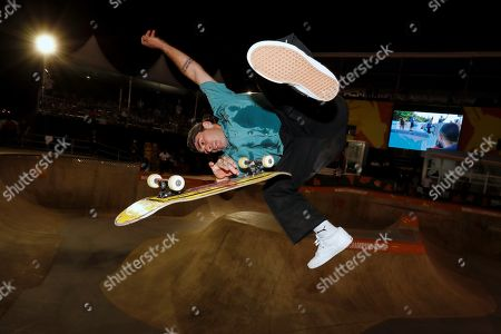 Brazil's Pedro Barros competes during World Skate Park World Championships at the Parque Candido Portinari in Sao Paulo, Brazil, 10 September 2019.