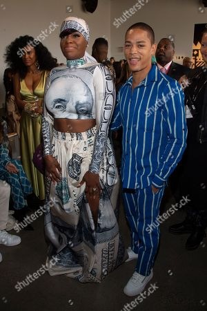 Fantasia Barrino, Jeremy L. Carver. Recording artist Fantasia Barrino, left, and actor Jeremy L. Carver, right, attend the Studio 189 runway show during NYFW Spring/Summer 2020 at Spring Studios, in New York